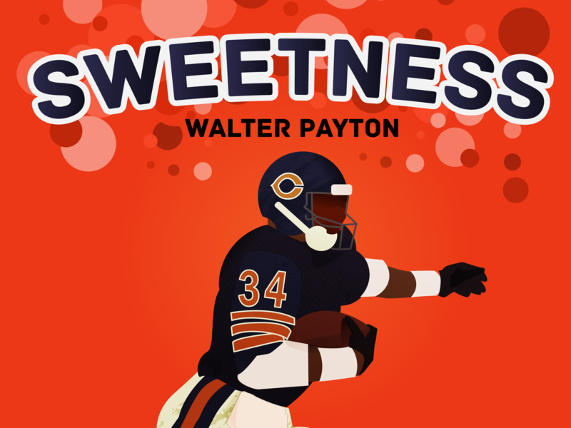 Sweetness dabears rb runningback sweetness icons sports 70s 80s character football logo design vector illustration chicagobears chicago bears nationalfootballleague football nfl walterpayton