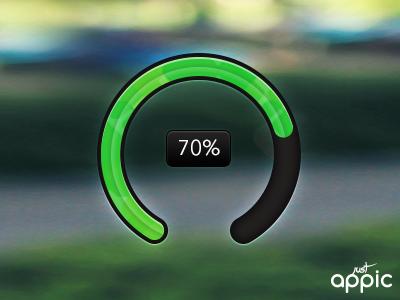 70% progress status percentage bar green justappic