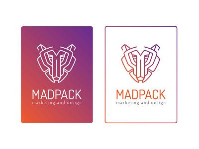 Madpack Logo pack mad wolf purple orange outline logo