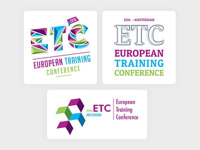 New logo: ETC feedback improvement outline shards colourful logo conference training event