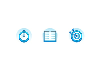 Icons arrow target learning reading book speed stopwatch icon