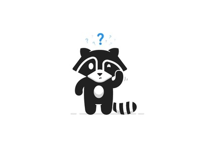 Confused  question mascot raccoon confused