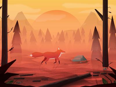 Fox game trees sun sunset landscape mountain forrest fox