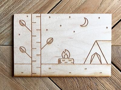 Camp  etch laser wood moon stars sky tent fire camp leaf tree
