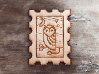 Owl icon illustration etch laser wood print bird owl