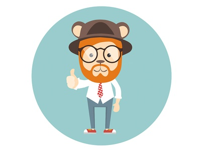 Hipster animals forfree free illustrator animals hipster bear raccoon character illustration psd ai flat