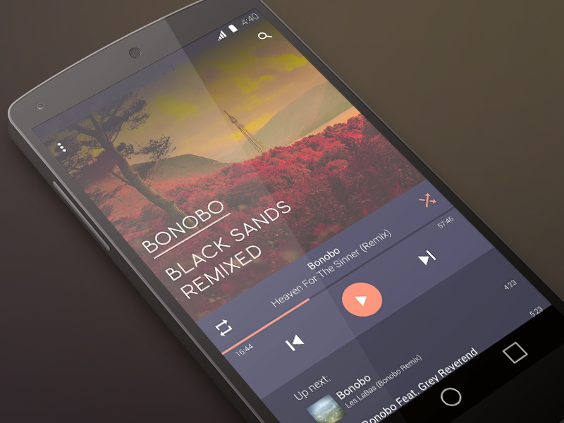 Music Player materialdesign design ui android music player app material musicplayer bonobo