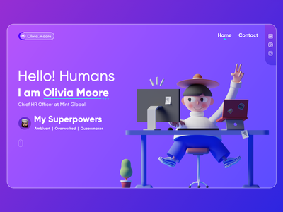 Hero section concept for HR managers landing page dribbbleweeklywarmup illustration 3d human resource hr web ui