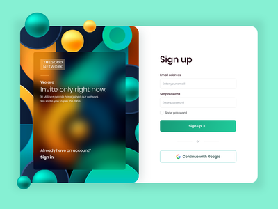 Social network sign up form colorblock webdesign colors hero image glass effect illustration ux signin login register 3d shapes login form login page colorful web dribbbleweeklywarmup ui