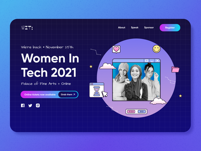 Women In Tech Conference 2021 | Concept android ios colors minimal gradient web app no-code branding events webflow ux ui design landing page tech online website zoom digital web conference