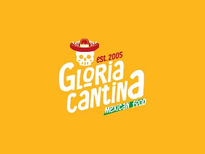 Gloria Cantina skull branding logotype logo restaurant logo restaurant tacos mexican food cantina
