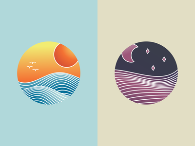 Landscape illustrations: sea and fields vector art icon illustration digital gradient design vectorart vector illustration vector inkscape illustration