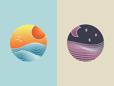 Landscape illustrations: sea and fields vector art icon illustration digital gradient design vectorart vector illustration vector inkscape illustration