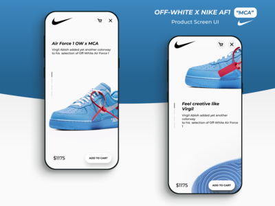 "OFF-WHITE X NIKE AF1 ""MCA"" Product Screen UI"