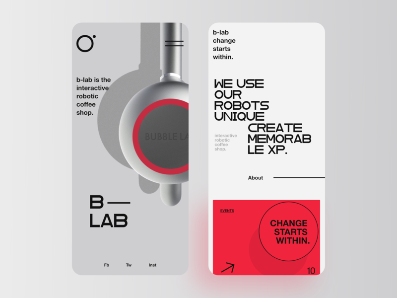 B — LAB UI webdesign website ux ui clean responsive design interface minimalism typography product cafe red photo mobile app design mobile app app coffee app coffee barista robot