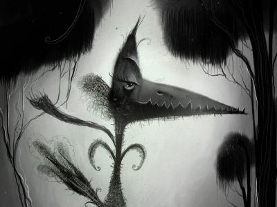 Liam's Journey bird creepy dark forest fantasy scarf journey trip character design black and white illustration sketch