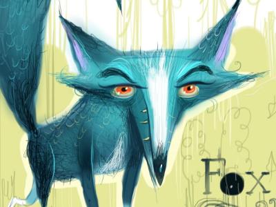 Fox. fox fox talk fox tail character design blue woods