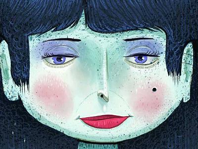 Lipstick blue portrait mole eyeshadow lipstick