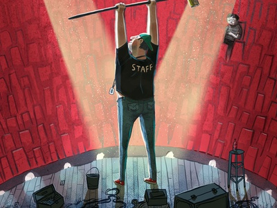 Paste Magazine - The Unsung Hero Issue cover illustration janitor concert stage roadie
