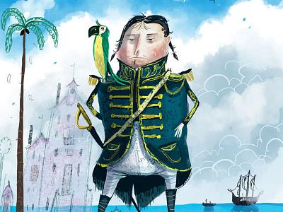 Ocean Man illustration caribbean rum captain morgan admiral ocean