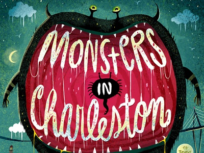 MONSTERS IN CHARLESTON - Book Cover halloween horns scary charleston monsters