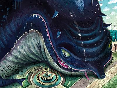 Mutant Dolphin - Waterfront Park pineapple fountain monster mutant dolphin charleston