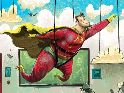 Power of the Pen superhero character cape blue sky underwear superman illustration