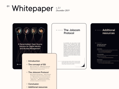 Jolocom collateral  •  New whitepaper collateral identity swiss style editorial branding dapp decentralization blockchain protocol whitepaper