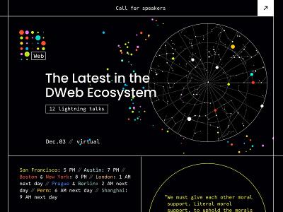 DWeb meetup - December cover colorful logo brand identity key visual community brand decentralization cover design event