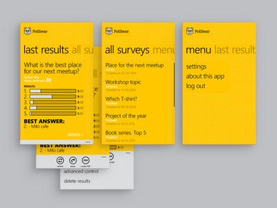 Pollbear App - selected screens