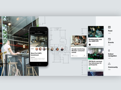 Factory app I Network of co-working spaces campus startup space proximity hub digital branding beacons