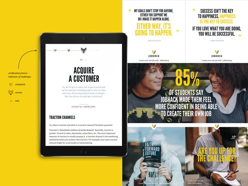 JobHack - Typography visual identity course platform instagram education typography branding identity startup