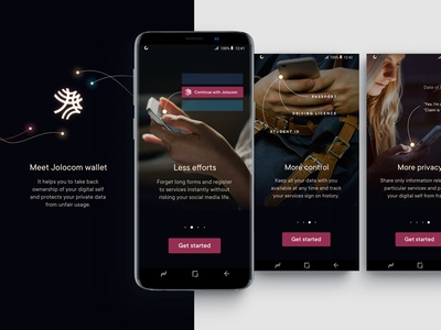 Jolocom - introduction screens ethereum sparks dark visual language identity android sign up introduction walkthrough blockchain startup