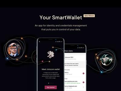 Jolocom - Hero image for Solution page ethereum sparks dark visual language identity android app hero image blockchain startup