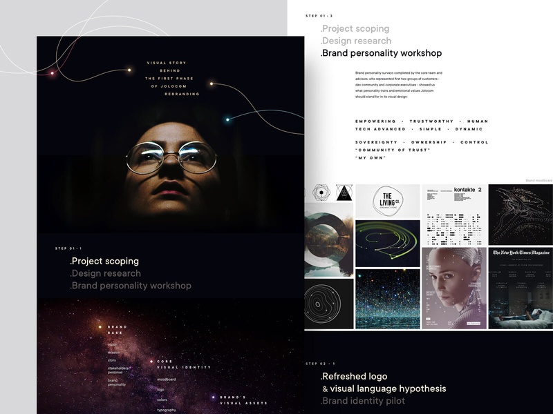 Jolocom rebranding: case study is coming brand identity moodboard case study workshop research stars startup decentralization web 3.0 identity blockchain redesign visual language branding