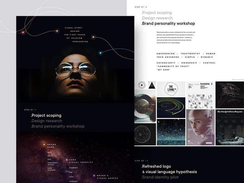 Jolocom rebranding: case study is coming brand identity moodboard case study workshop research stars startup decentralization web 3.0 identity blockchain redesign visual language branding