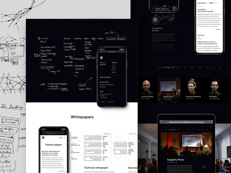 Final part of Jolocom case study contact page navigation whitepaper events page team page rebranding visual language brand identity sketches black ui webdesign redesign blockchain identity branding
