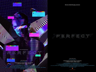 PERFECT - Official Movie Poster abstract 3d art iridescent error colorful film official artwork glitch art glitch vaporwave klarens portfolio graphic print design photoshop poster movie perfect