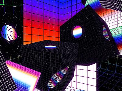 Void Vaporwave abstract art daily chromatic 90s cyberpunk vaporwave poster art gradient poster artwork abstract klarens colorful retro 3d iridescent black  white black cubes void