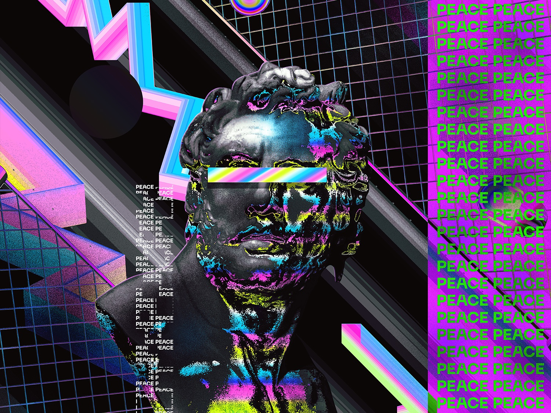 Neue Machina Poster design retro chromatic everydays everyday art cyberpunk abstract art vaporwave artwork iridescent gradient abstract colorful klarens statue poster art type art poster typeface neuemachina
