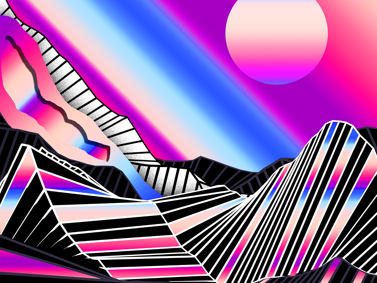Piano Poster chromatic everydays everyday art cyberpunk abstract art vaporwave poster art artwork iridescent poster colorful klarens cinema4dart low poly geometric sun gradient abstract retro 3d