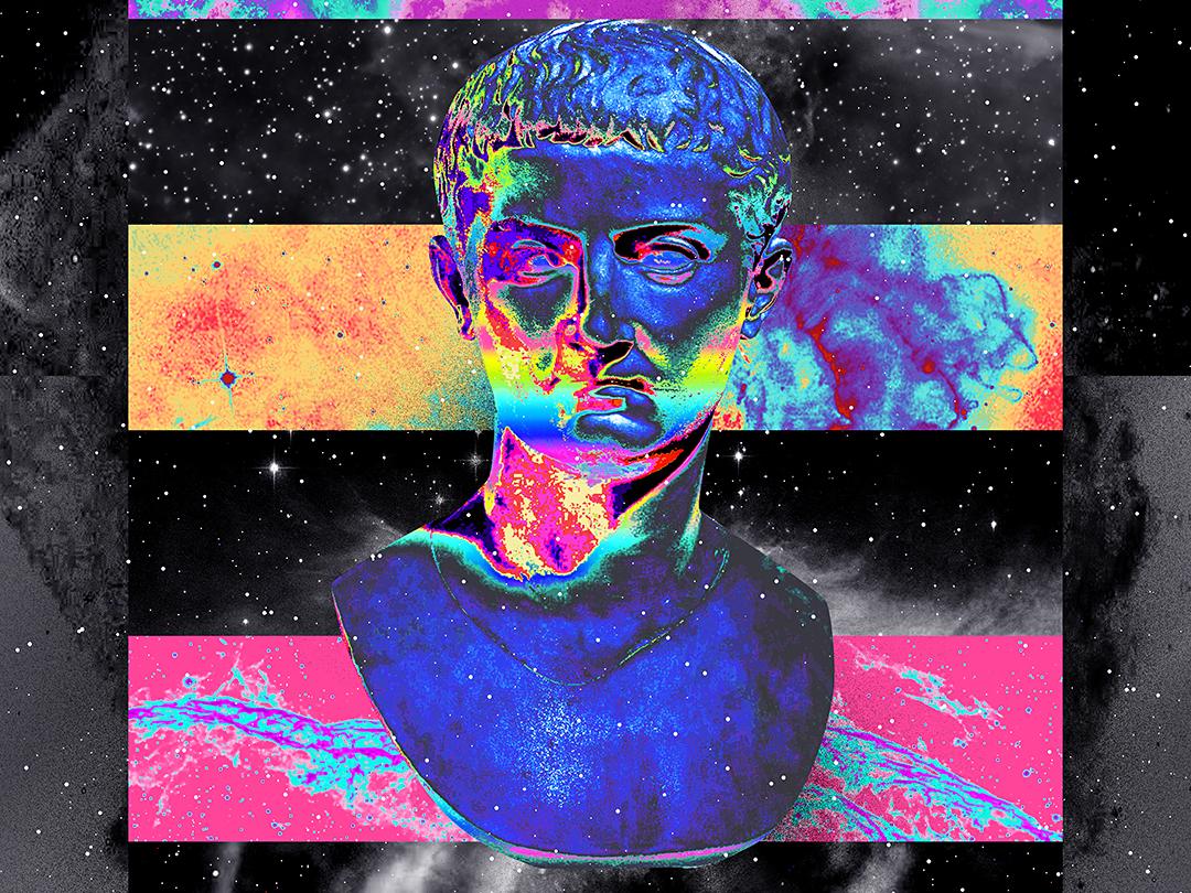 Statue Nebula everyday art cyberpunk abstract art poster art artwork poster gradient abstract colorful vaporwave klarens supernova iridescent statue deep stars colors space universe nebula