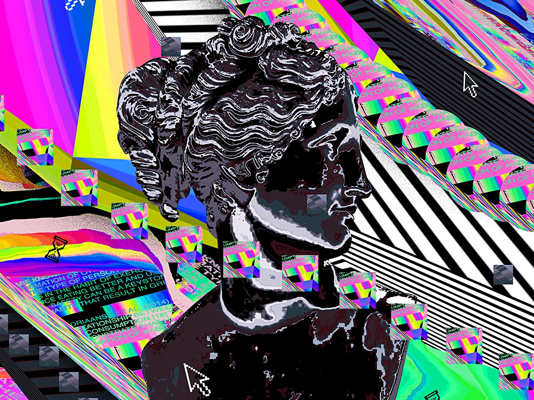 Statue Freestyle poster retro chromatic everydays everyday art cyberpunk abstract art vaporwave poster art artwork gradient abstract klarens glitchy statue iridescent colorful glitch design poster freestyle