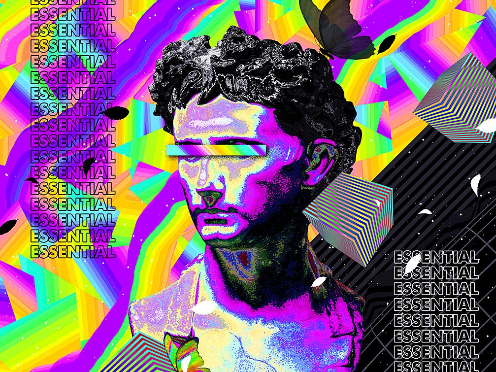 Essential Poster - Tutorial everydays everyday art cyberpunk abstract art vaporwave artwork iridescent gradient abstract colorful poster a day poster design poster art poster tutorial animation klarens tutorials class skillshare tutorial
