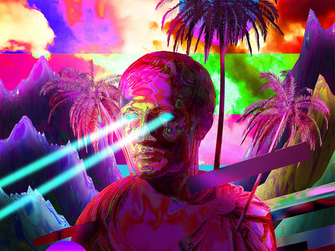 Tropical Vibe everydays everyday art cyberpunk abstract art vaporwave poster art artwork iridescent poster gradient abstract colorful klarens tropical leaves clouds cloud 3d laster statue tropical