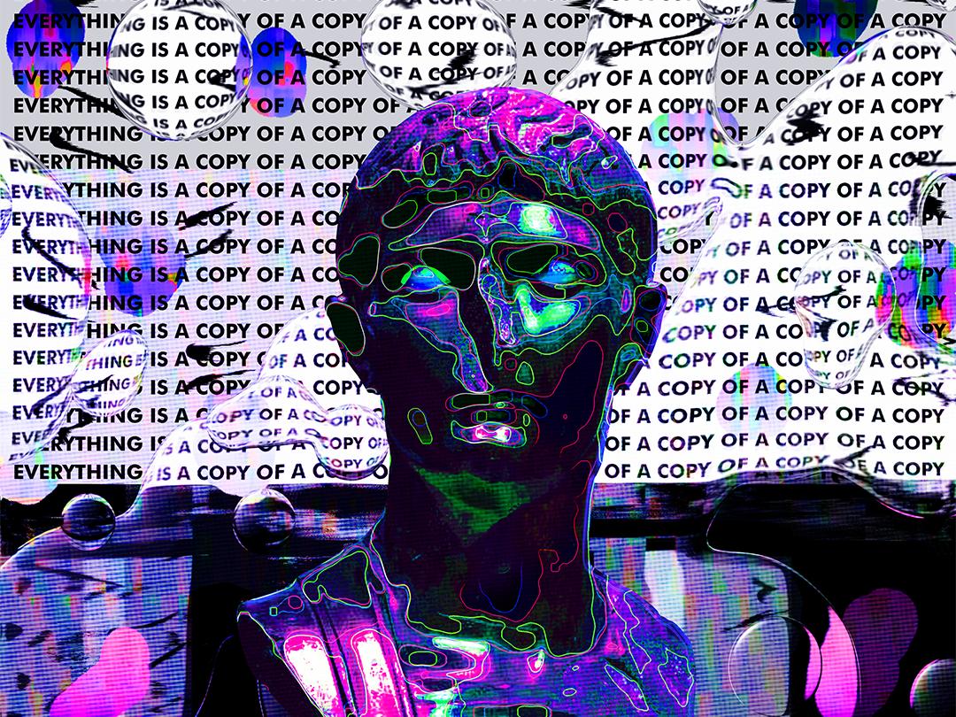 Modern Poster Art Klarens daily design retro chromatic everydays everyday art cyberpunk abstract art vaporwave artwork iridescent gradient abstract colorful statues statue klarens poster art poster modern