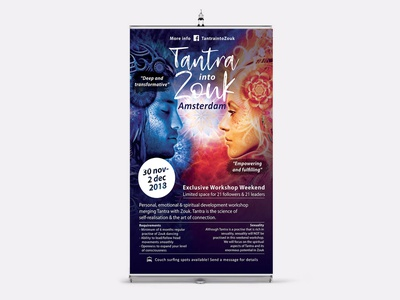 Tantra into zouk poster banner poster promotion print banner indesign digital typography brand and identity graphic design branding