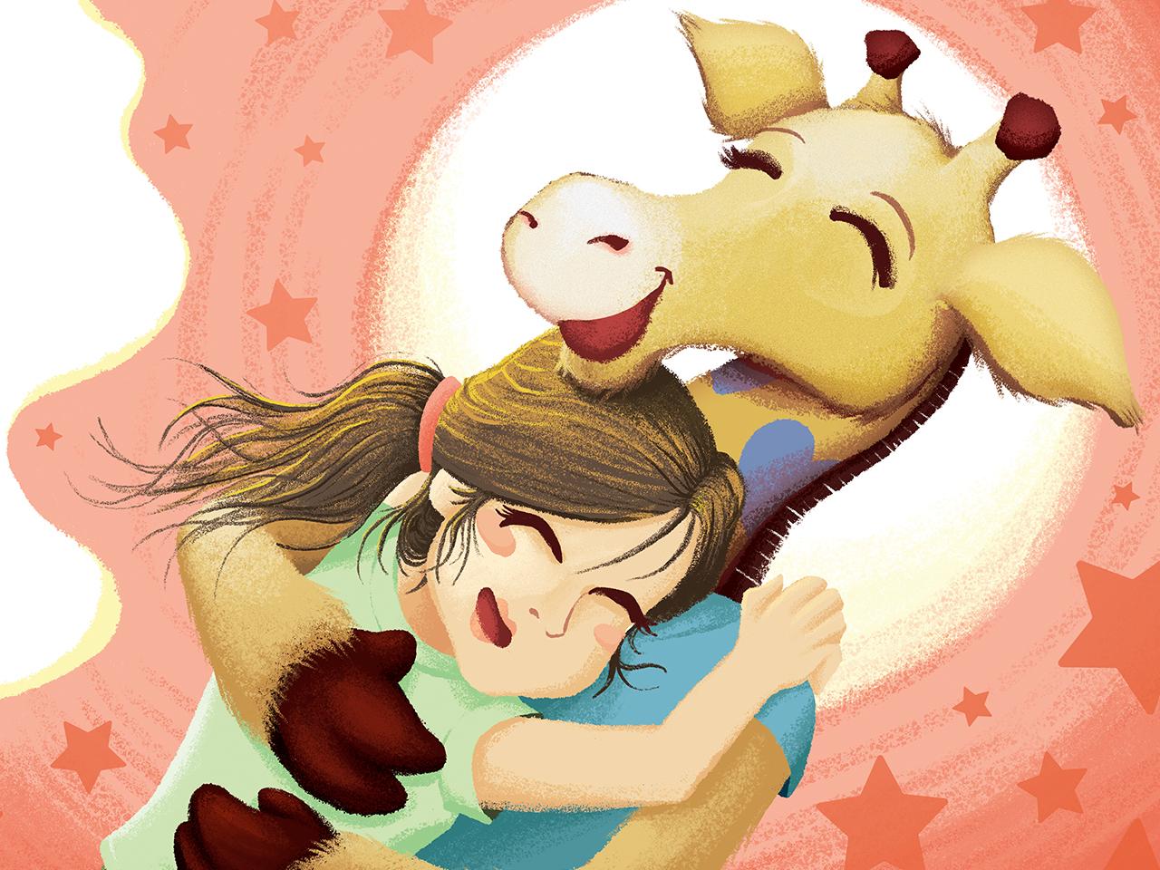 Giraffe Hug fun illustration story book children book hospital nurse hug giraffe