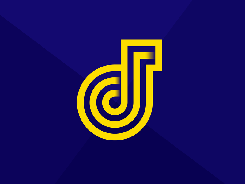Personal Brand bold branding personal brand logo design icon j logo design illustration blue color yellow  blue yellow lines designer logo icon personal branding