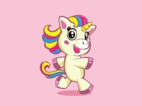 Cute Unicorn Mascot Walking Smilling